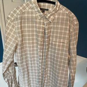 John Varvatos shirt, M, Tan/Cream Plaid